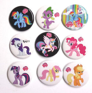 set of 9 my little pony anime series 1 button pins free s h ebay