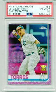 GLEYBER-TORRES-2019-Topps-Chrome-PINK-Refractor-New-York-Yankees-Rookie-PSA-10