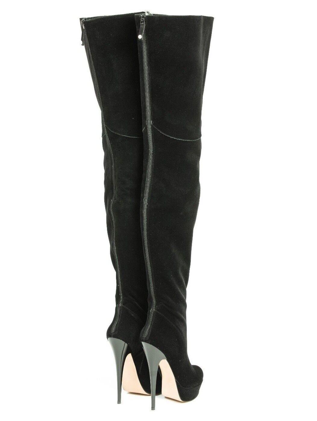MORI PLATFORM HIGH HIGH HIGH OVERKNEE Stiefel STIEFEL Stiefel PERLE VELVET schwarz SCHWARZ   6ef238
