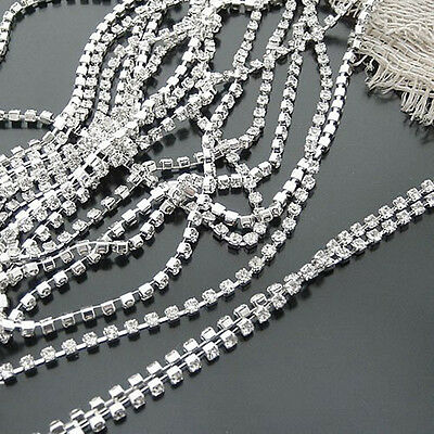 New 1Meter Costume Applique Clear Crystal Glass Rhinestone Close Chain Trim