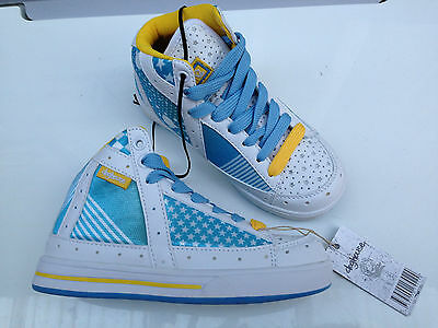 BNWT Girls Sz 12 Rivers Doghouse  White Blue Grey Pink Tab Athletic Jogger Shoes