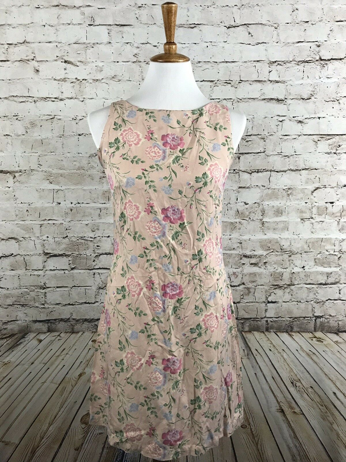 Vintage April Cornell Silk Sheath Dress Pink Floral Print Size 2