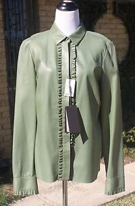 74ea8a6c New Designer GUCCI 46 Neiman Marcus Army Olive Green Leather Blouse ...