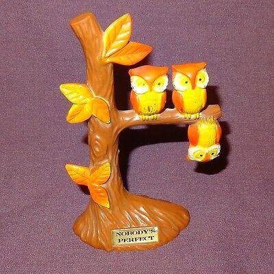 """Vintage Owl Tree Nobody's Perfect Upside Down 5""""  Hong Kong Brown Orange"""