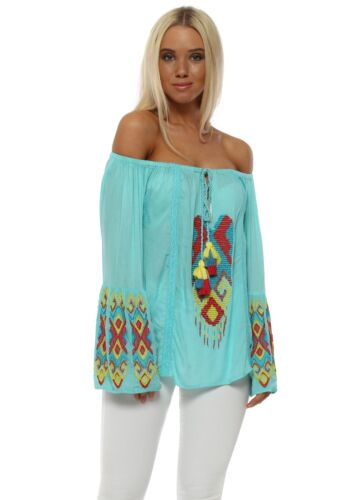 NJ Couture Turquoise Aztec Beaded Bardot Top