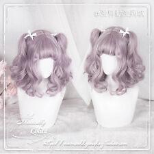 Sweet Girl Princess Lolita Purple Gradient Kawaii Short Curly Wig Cosplay Woman