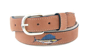 Zep-Pro-Men-039-s-Embroidered-Sailfish-Leather-Belt-Sport-Fishing-Made-in-the-U-S-A