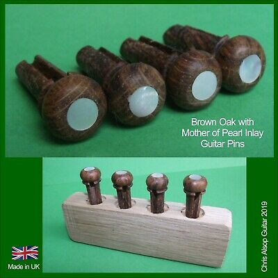 English Yew Acoustic Bass Guitar Bridge Pins with Abalone Inlay PP041