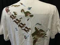 Tori Richard Christmas Ho Ho Hawaii Embroidered 100% Silk Shirt Medium $165