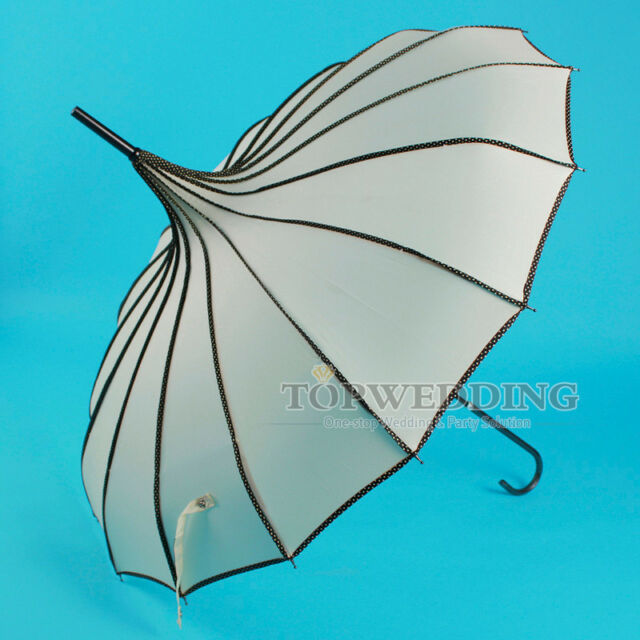 New Women Elegant Ivory Waterproof Wedding Bridal Pagoda Umbrella Sun Parasol