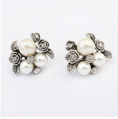 Chic Retro Womens Lady Silver Plated Crystal Pearl Flower Ear Stud Earrings Gift