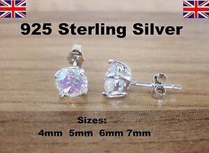 Image Is Loading 925 Sterling Silver Rainbow Quartz Round Cz Cubic