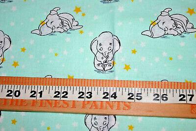 Dumbo elephant fabric 100/% COTTON METRE MATERIAL Timothy mint green Disney