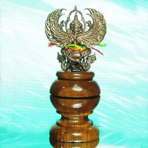 """Details about Thai Amulet GARUDA Phaya Krut Statue Nawa on Wooden Base  2 5""""Tall LP Chom BE2561"""
