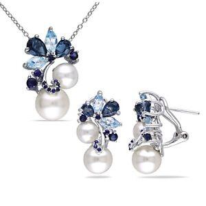 Sterling Silver Pearl Blue Topaz & Sapphire Flower Necklace & Earrings Set