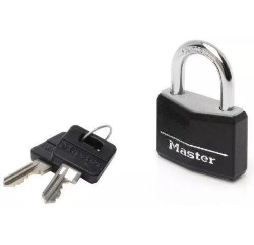 40mm MasterLock Black Vinyl Covered Aluminium Padlock with 2 keys