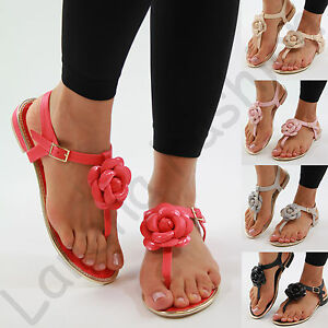 275de7271a9 New Womens Flat Sandals Flower Toe Post Ankle Strap Summer Comfy ...