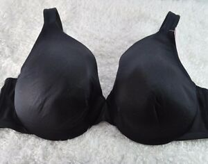 Cacique-Lane-Bryant-Bra-40D-Black-Satin-Smooth-Full-Coverage-Shaping-Lined