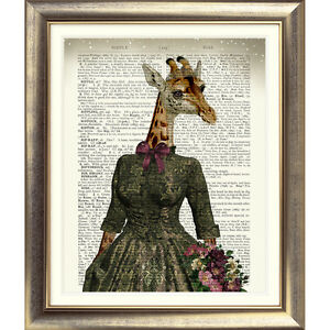 ART-PRINT-ON-ORIGINAL-ANTIQUE-BOOK-PAGE-Giraffe-DICTIONARY-Old-Picture-VINTAGE