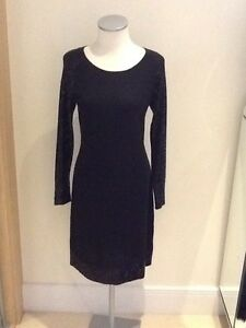 jaeger-blacked-knitted-sequin-detail-dress-size-medium