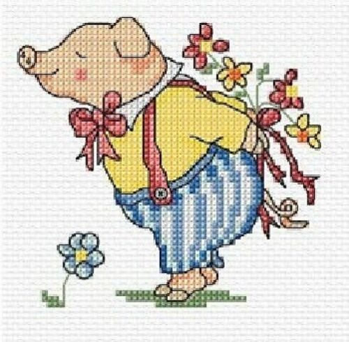 Just For You Pig Cross Stitch Kit 10.5cm x 10.5cm