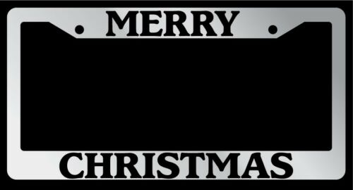 Black License Plate Frame Merry Christmas Auto Accessory Novelty