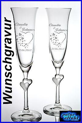 2 Sektgläser mit Hochzeit Gravur Personalisiert  Individuelle Geschenk Sektglas