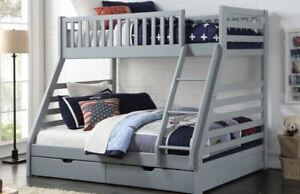 Sweet Dreams States Wooden Triple Sleeper Bunk Bed Frame Grey Wood