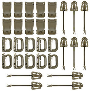 30-Pcs-Brown-Tactical-Gear-Clip-Set-Strap-D-ring-Grimloc-Lock-for-Molle-Bags