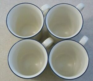 SET-of-4-LENOX-Chinastone-BLUE-PINSTRIPES-Coffee-Mugs-Cups