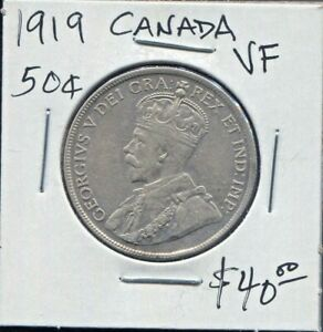 CANADA-BEAUTIFUL-HISTORICAL-GEORGE-V-SILVER-50-CENTS-1919-KM-25