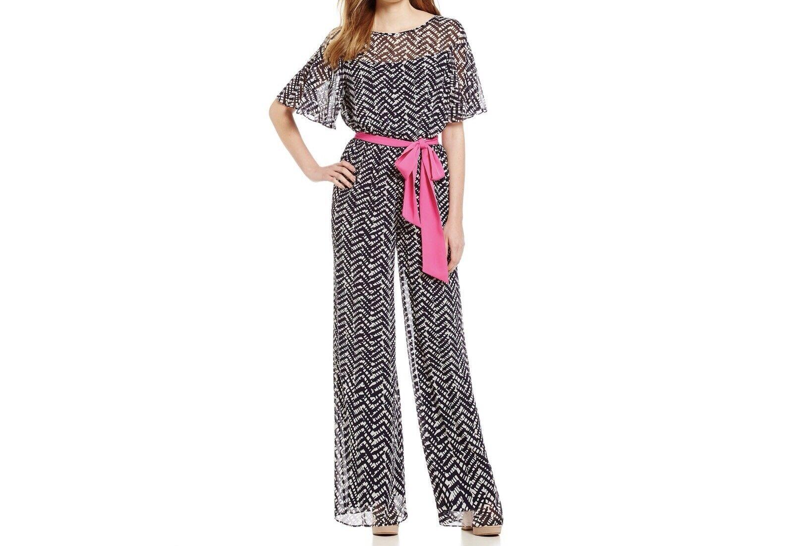 Eliza J Flutter Sleeve Printed Blouson Wide Leg Jumpsuit Size 4