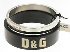 D&G bracciale Words doppio acciaio e resina nera referenza DJ0582 new
