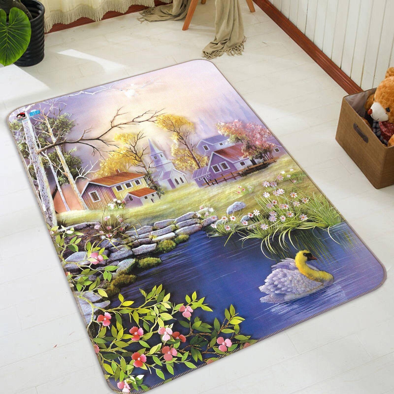 3D House Lawn Paint 03 Non Slip Rug Mat Room Mat Quality Elegant Carpet US Cobb