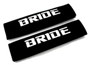 2PCS-jdm-BRIDE-Racing-Black-Soft-Cotton-Embroidery-Seat-Belt-Cover-Shoulder-Pads