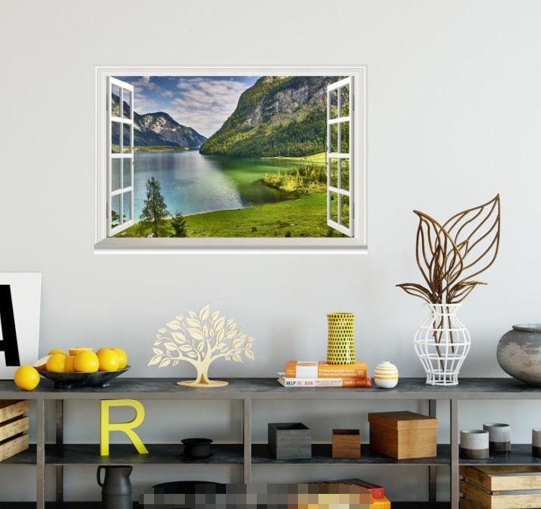 3D Lawn River Hills 57 Open Windows Mural Wall Print Decal Deco AJ Wallpaper Ivy