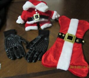 Dog-lot-size-XL-santa-costume-dog-stocking-and-grooming-gloves-Christmas