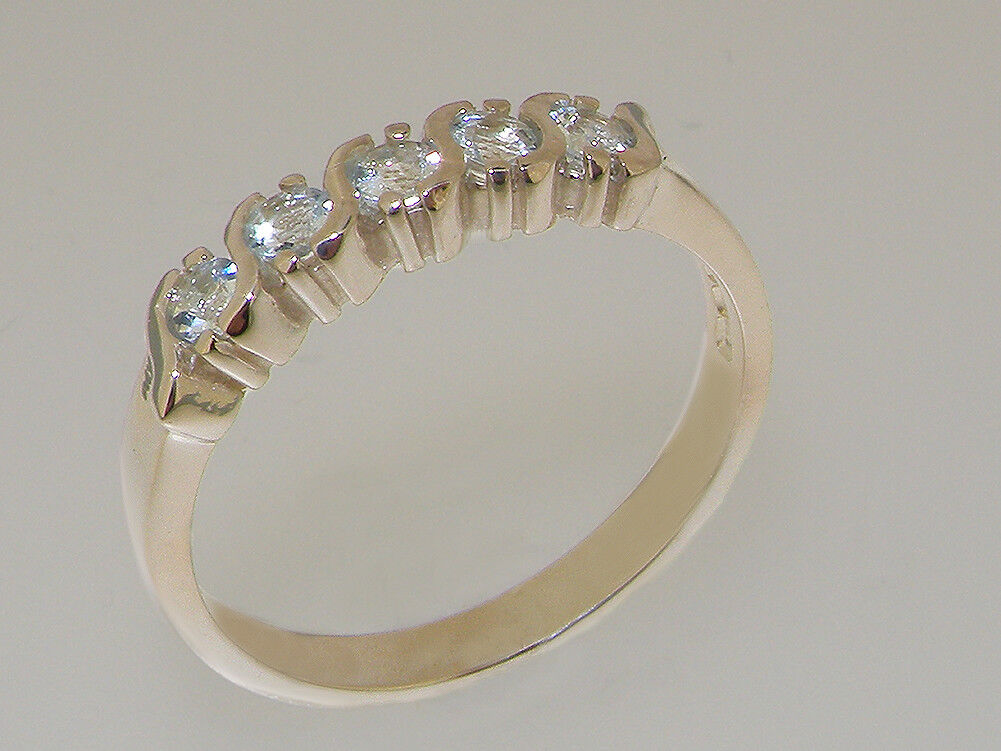 Solid 14k White gold Natural Aquamarine Womens Eternity Ring - Sizes 4 to 12
