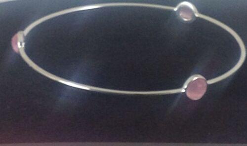 Sterling Silver Fashion Jewellery Pink Cats Eye Bangle
