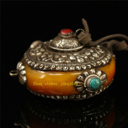 """4.72/""""Exquisite Tibetan silver inlay Turquoise Handmade Beeswax Snuff bottle h127"""