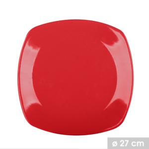 Lot  2 Assiettes Plat de Table Carré Rouge en Céramique 27 x 27 cm