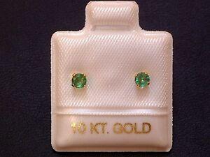 Feinste-Smaragd-Ohrstecker-Ohrringe-3-mm-14-Kt-Gold-585-Brillantschliff
