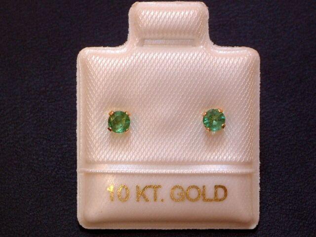 Feinste Smaragd Ohrstecker Ohrringe - 3 mm - 14 Kt. Gold - 585 - Brillantschliff