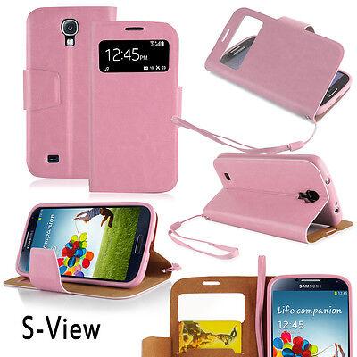 Galaxy S4 Cover rosa Hülle SView Stand Flip Case Schutz Touch Tasche Handy