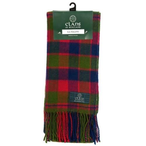 Clan of Scotland 100/% Pure Lambswool Glasgow Clan Tartan Scarf