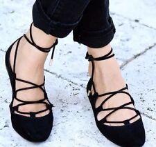 ZARA Black Suede Leather Flat Lace Up Ballerina Shoes UK 6 Euro 39 Flats