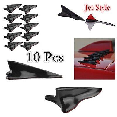 New 10x Black Vortex Generator 3D Shark Fin Jet Rear Roof Wing Spoiler Diffuser