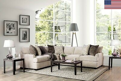 Ivory Chenille Contemporary Sectional Sofa Pillows Couch Plush Cushion  Seating | eBay