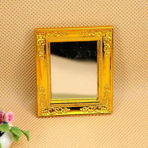 1/12 Dollhouse Golden Square Framed Mirror for Dollhouse Miniature Accessories