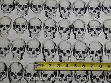 Rad Skulls Head Bones Gothic Biker White  BY YARDS Alexander Henry Cotton Fabric